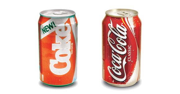 Coca-cola mudou para New-Coke em 1985 e teve de reverter