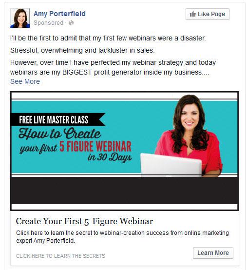 Exemplo de webinário, anunciado no Facebook.