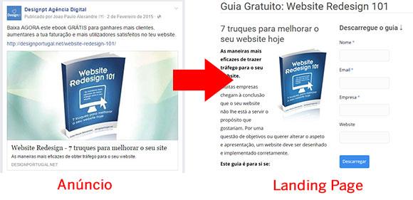 Anúncio Facebook a promover ebook