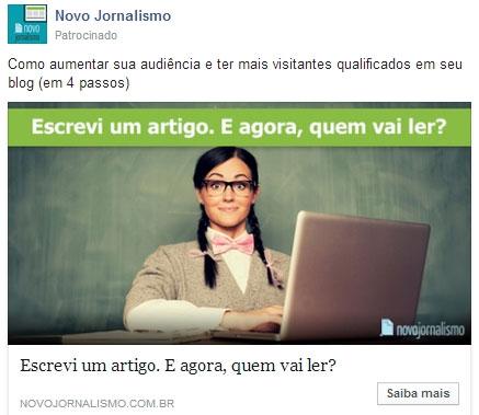Exemplo de anúncio Facebook