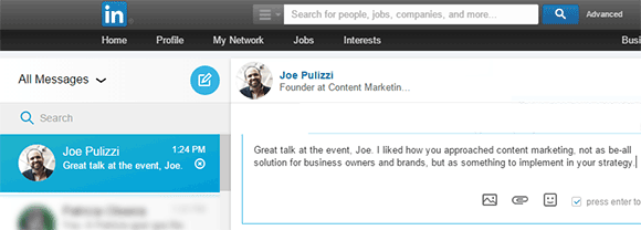 Joe Pulizzi  Linkedin mensagem