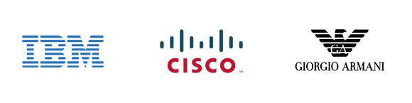 Logotipos IBM, Cisco, Giorgio Armani