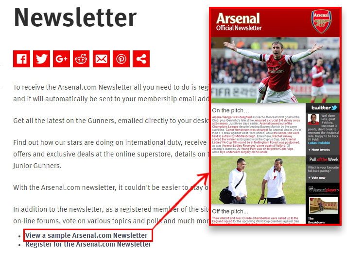Subscricao newsletter arsenal