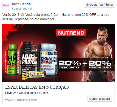 Anuncio facebook newsfeed