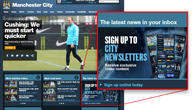 Call to action na homepage do Manchester City