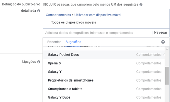 Dados comportamentais Facebook