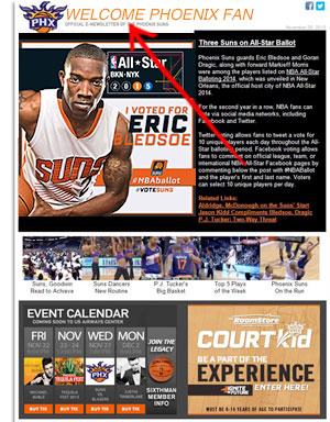 Email de boas vindas dos Phoenix Suns