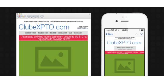 Modelo de email versão desktop e mobile