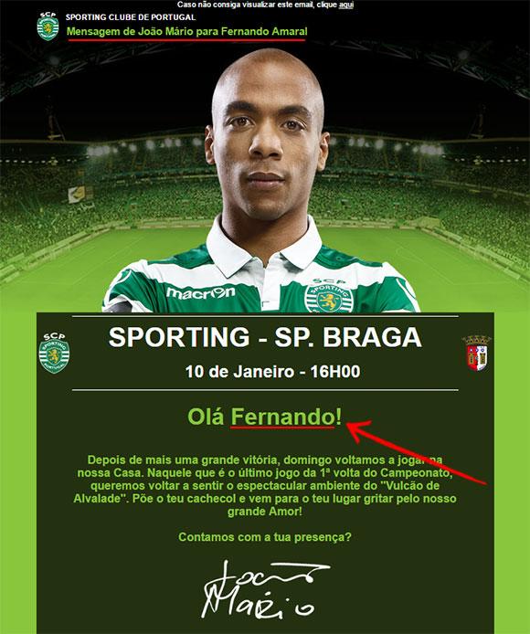 Personalização de email do Sporting