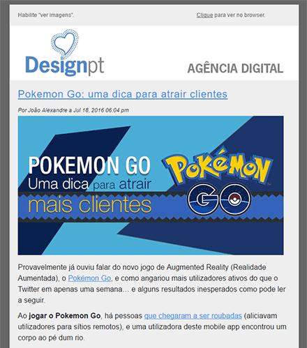 Exemplo de newsletter com notificação de artigo
