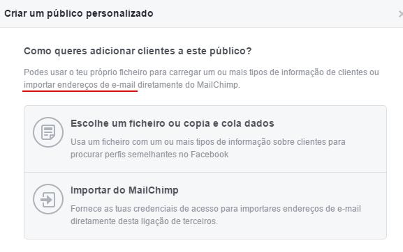 Importar emails facebook publico personalizado mailchimp