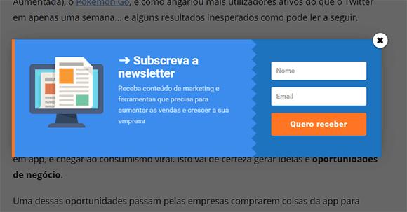Popup de subscrição de newsletter