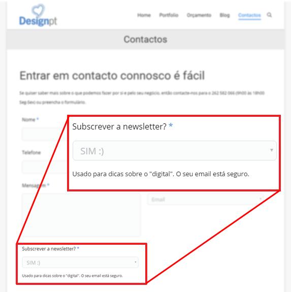 Formulário de contacto com opção de subscrição newsletter