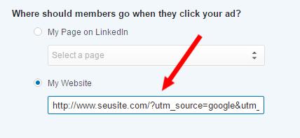 Anunciio LinkedIn com URL do construtor URL
