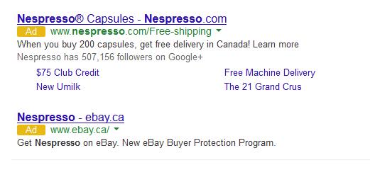 Anuncio Adwords Nespresso