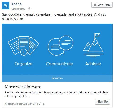 Anuncio Facebook Asana