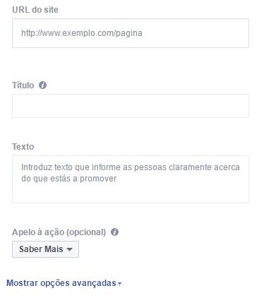 Anuncio facebook campos basicos