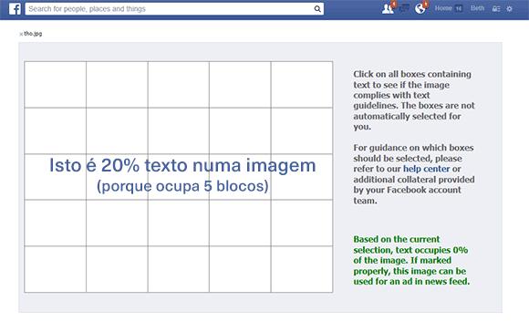 Facebook grelha texto