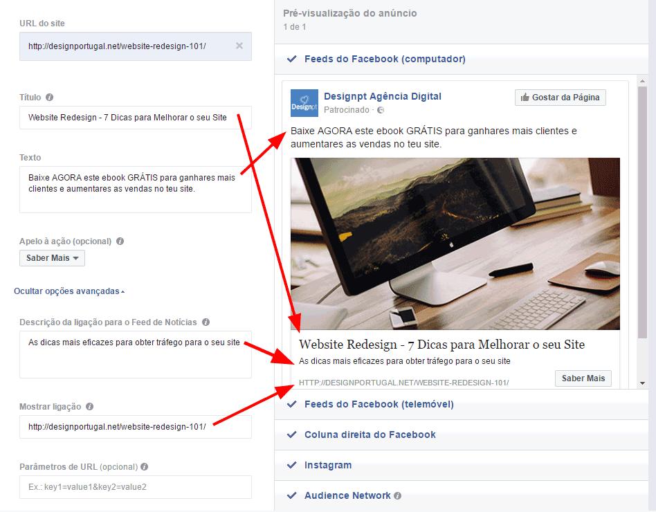 Correspondencia de campos de anuncios Facebook