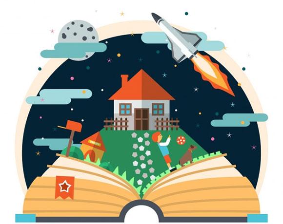 Livro aberto com foguete e casa