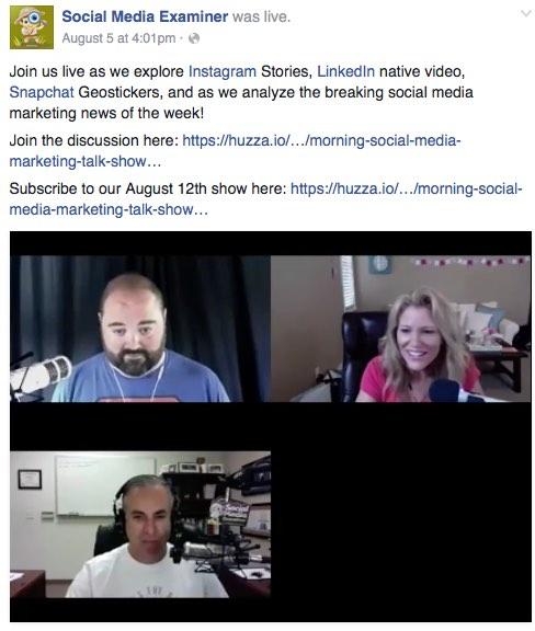 Transmissão ao vivo Huzza Social Media Examiner