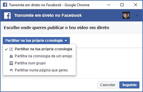 Transmitir em direto para perfil Facebook