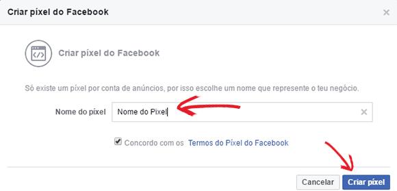 Criar pixel Facebook
