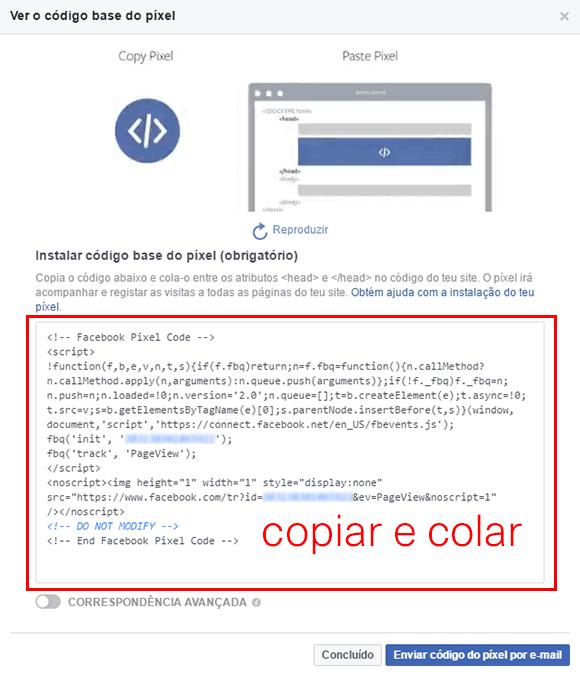 Copiar e colar o Pixel Facebook