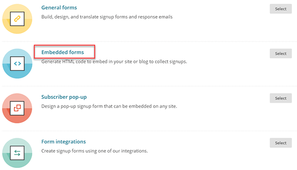 Embedded forms no MailChimp