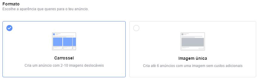 Formato do anúncio (carrossel ou imagem única)