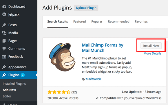 Plugin WordPress MailChimp