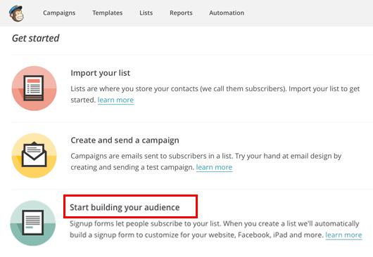 Criar uma lista no MailChimp