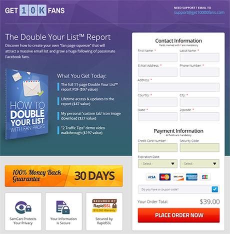 Página checkout SamCart
