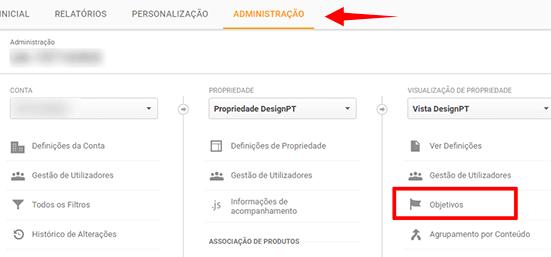 Criar objetivo Google Analytics
