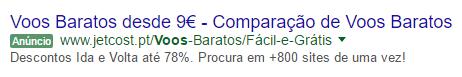 Anuncio Adwords Jetcost