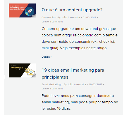 Artigos feed do blog
