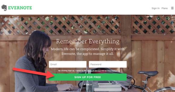 Evernote homepage design