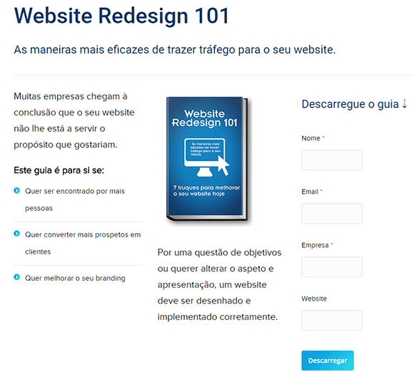 Exemplo landing page Website Redesign 101