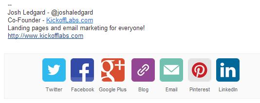 Link para redes sociais rodapé assinatura