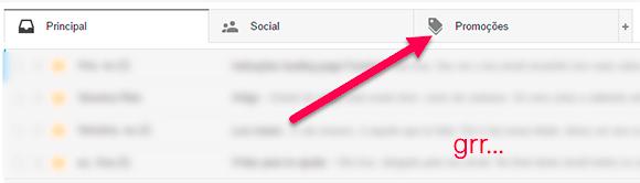 Separador Promoções Gmail