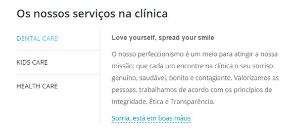 Serviços principais na homepage