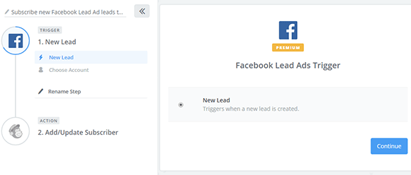 Zap Facebook Lead Ads e MailChimp