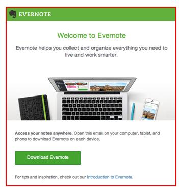 Email de boas vindas Evernote