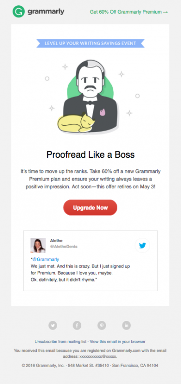 Email promocional Grammarly