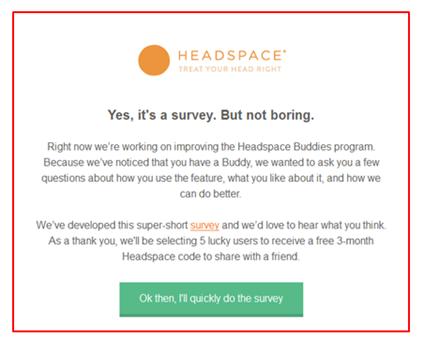 Email de inquérito (survey) da HeadSpace
