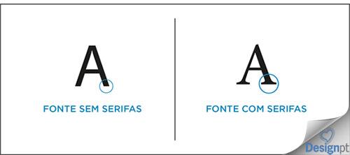 Diferença entre fonte com serifas e uma fonte sem serifas