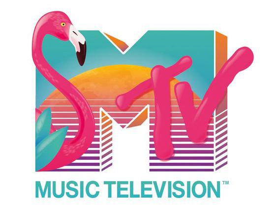 Exemplo de um logótipo inspirado nos anos 80.