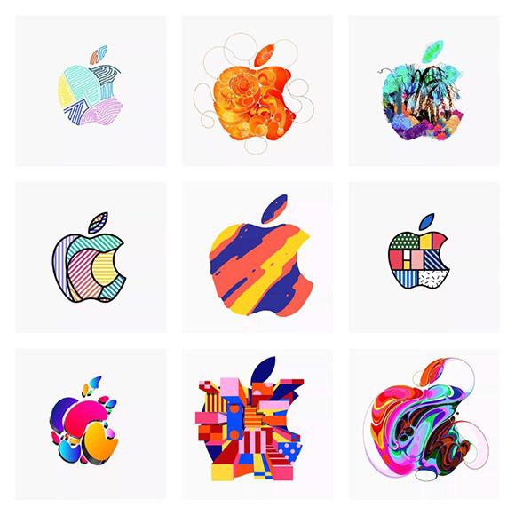 Logótipo da Apple com padrões abstratos.