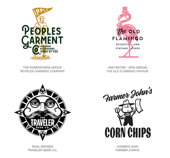 Exemplos de logotipos vintage