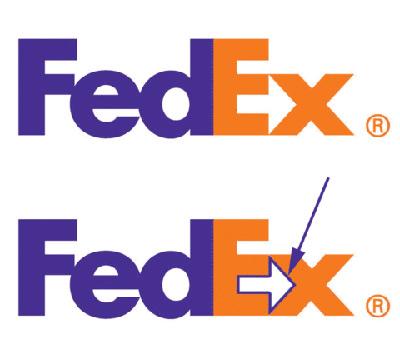 Logo da FedEx com seta nas últimas duas letras.